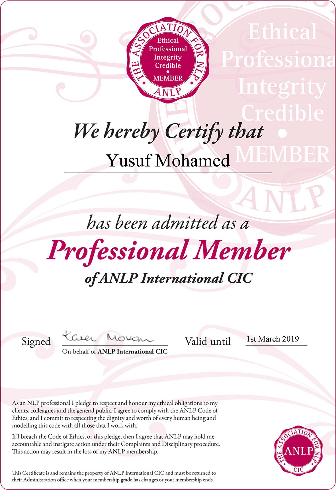 certified Neuro Linguistic Practitioner